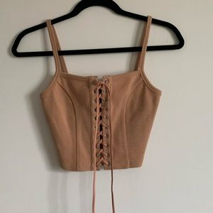 Forever 21 Tan String Corset Stretchy Ribbed Crop Tank Top size Small EUC